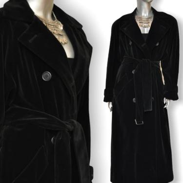 Vintage Calvin Klein Black Velvet Trench Coat Womens Double Breasted Long Dress Coat by TheUnapologeticSoul