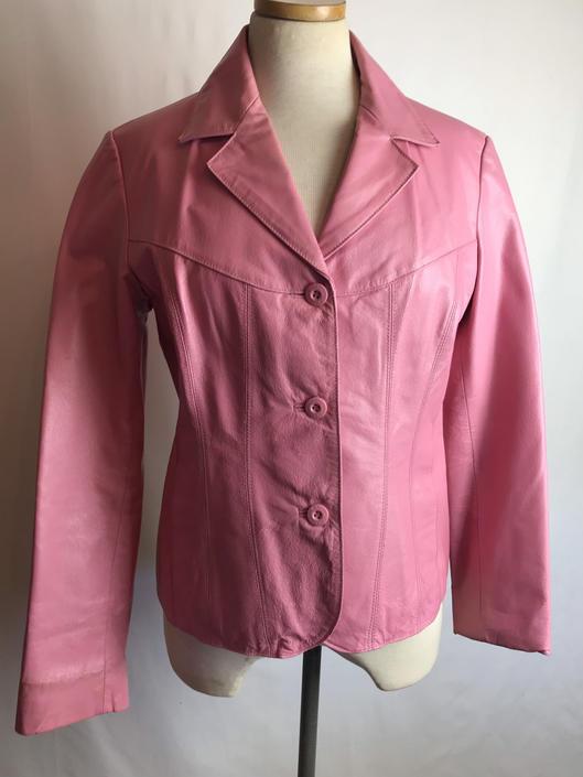 Pink leather jacket~ Wilson leather blazer cut coat~ bubblegum pink~ size Medium by HattiesVintagePDX