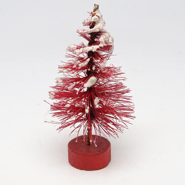 Small Antique Red Bottle Brush Christmas Tree in Red Wooden Base, Vintage Decor Snow Flocked , Retro Doll House by exploremag