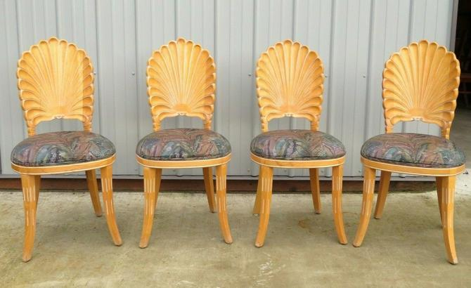 VTG Venetian ITALIAN GROTTO CARVED SHELL BACK DINING CHAIRS Hollywood Regency