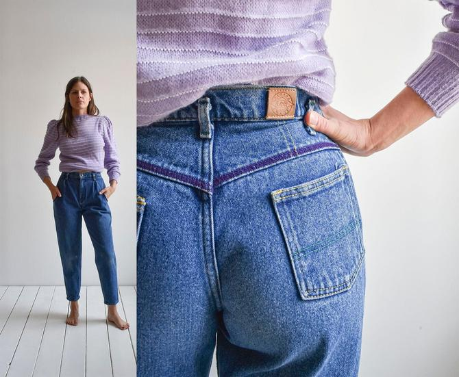 Super 80s Hi Waisted Tapered Leg Jeans by milkandice