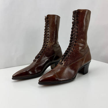 Authentic 1910-1920 Edwardian High Top Boots - Lace Ups - Vintage Dead Stock - Never Worn - Women's 6 Narrow by GabrielasVintage