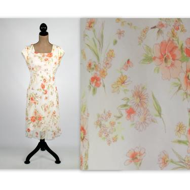 80s Floral Chiffon Midi Dress Small Size 6 Empire Waist Cap Sleeve Modest Spring Summer 1980s Clothes Women Vintage Clothing Jody California by MagpieandOtis