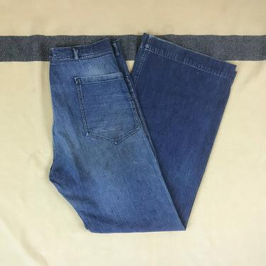 Size 34x32 1940s 1950s Private Purchase Selvedge Summer Weight Denim Sailor Bell Bottom Pants by BriarVintage