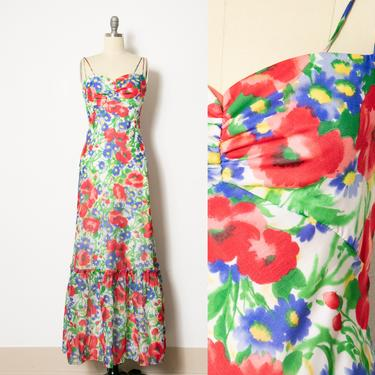 1970s Dress Chiffon Floral Maxi Emma Domb S by dejavintageboutique