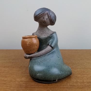 Vintage UCTCI Stoneware Woman Bud Flower Vase | Girl Holding Jar Figurine | Japan by TheFeatheredCurator