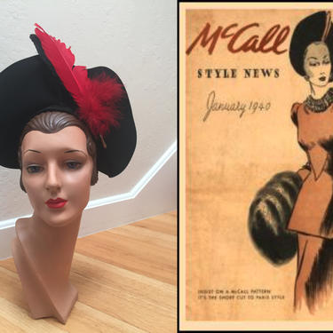 New Decade is Afoot - Vintage 1940s Ink Black Wool Felt Halo Wide Brim Hat w/Red Black Feathers by RoadsLessTravelled2
