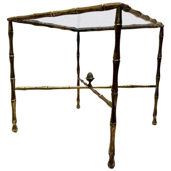 Custom Hollywood Faux Bamboo Brass Side Table by Arturo Pani by AMBIANIC