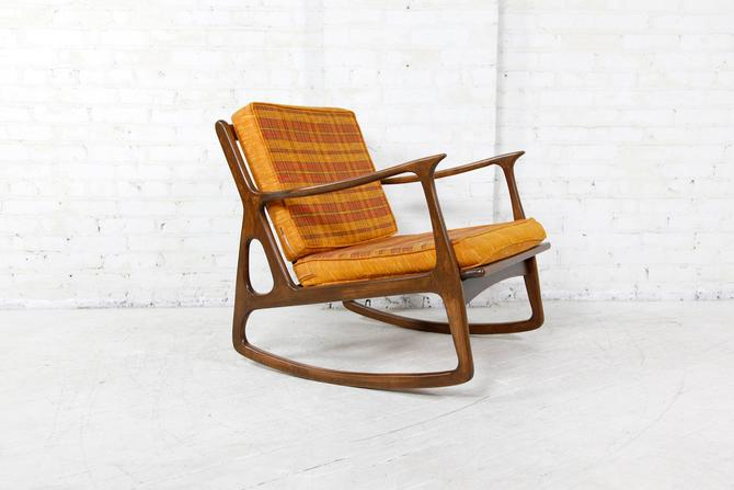 Vintage Italian rocking chair with orange and yellow fabric | Free delivery ONLY in NYC area by OmasaProjects