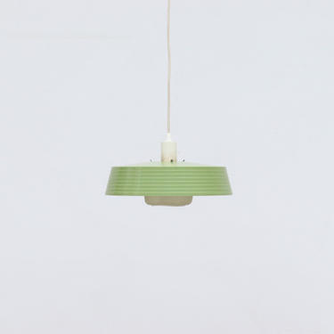 Mid-Century Green and White Plastic Lantern Pendant