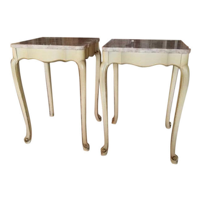 END TABLES, Vintage Marble End Tables, Shabby Chic, French Country, Pink, Pair of Tables, Home Decor by 3GirlsAntiques