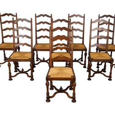Vintage set of 8 Country French Provincial Maple Ladder Back Dining Chairs by StandOutSpaces