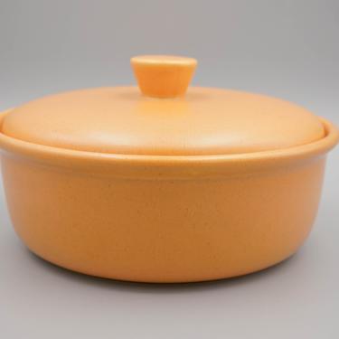 Bauer Pottery Casserole with Lid | Pumpkin Monterey Moderne | Vintage California Pottery | Mid Century Modern Cookware Serveware by MostlyMidCenturySF