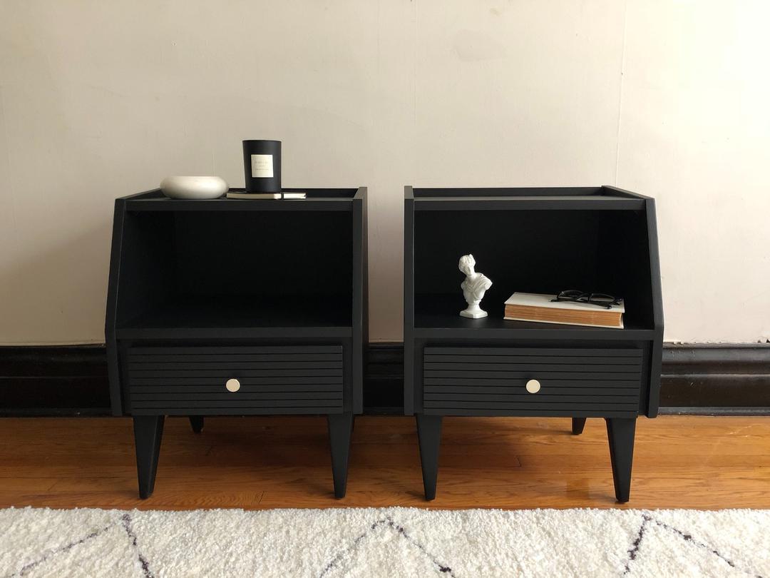 Pair Of Black Mid Century Modern Nightstands Vintage