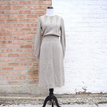 Vintage 90s does 50s Dress | Beige Sweater Dress | Knit Dress | 50s Wiggle Dress with Sleeves | Small Dress Medium | Size 6 Dress Size 8 by aphroditesvintage