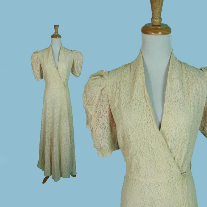 Vintage 1930s 40s Robe House Dress Ecru Flower Lace Short Cap Sleeves Size S XS by WalkinVintage