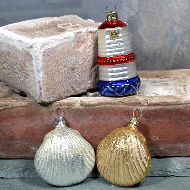 Set of 3 Seaside Themed Glass Christmas Ornaments for Your Christmas Tree! - Two Seashells and Czech Republic Lighthouse | FREE SHIPPING by Bixley