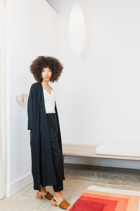 Bardi Duster, Textured Cotton in Black