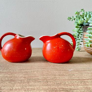 Vintage Creamer - Small Orange Ceramic Ball Creamer - Retro Creamer by SoulfulVintage