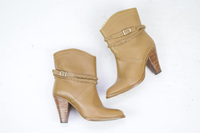 1b46533d57c39 Vintage 70's 80's Brown Leather Ankle Booties / 1970's ...