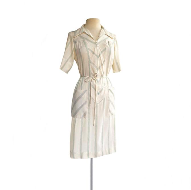 Vintage 70s Sears striped cotton day dress  cream white green & red stripes  yoke summer shirtdress with front zipper by Vintagiality