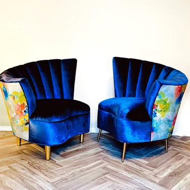 Custom Asymmetrical Velvet Fanback Chairs by OMGaudyLA
