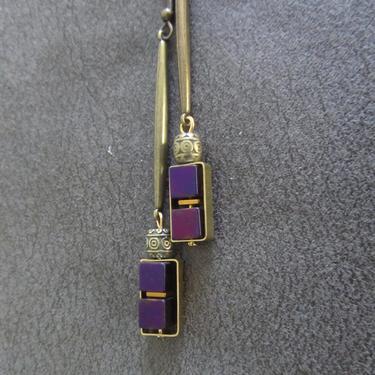 Long brass geometric earrings, brutalist earrings, mid century modern earrings bold statement, purple hematite, unique chic earrings by Afrocasian