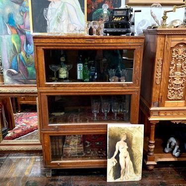 Antique oak triple-stack barrister bookcase