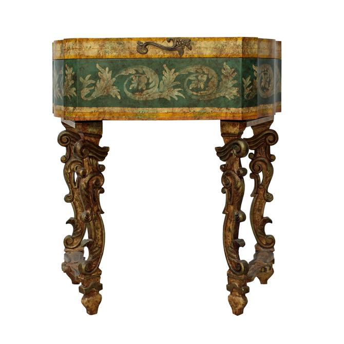 Chinese Oriental Beige Yellow Green Lacquer Flower Graphic Side Table ws463S