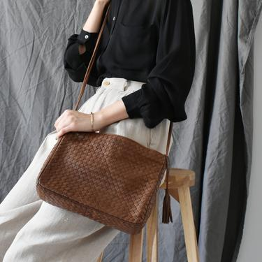 vintage woven brown leather purse / 90s crossbody bag with tassel by ImprovGoods