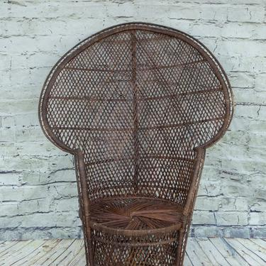 SHIPPING NOT FREE!!! Vintage Peacock Chair (Stained Brown) by WorldofWicker