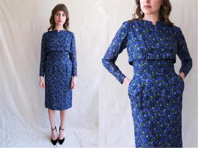 Vintage 50s Silk Blueberry Print Wiggle Dress/ 1950s Dark Blue Purple Long Sleeve Dress/ Size XS by bottleofbread