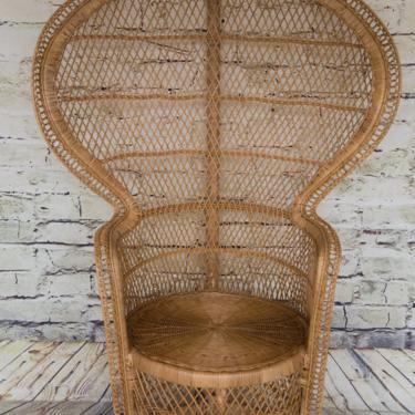 SHIPPING NOT FREE! Vintage Clam Shell Style Peacock Chair/ Wicker Peacock Chair by WorldofWicker