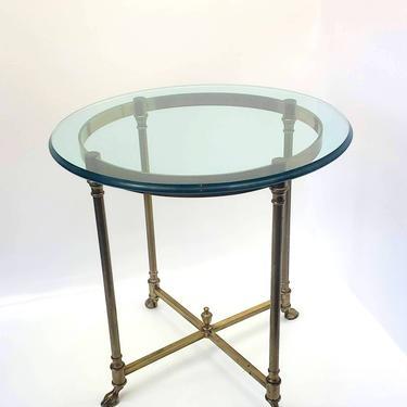 1960s Labarge Fern Table Hollywood Regency Mid Century Modern Brass Horse Hoof Glass End Table Maison Jensen Style Gold Metal Base Office by MakingMidCenturyMod