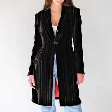 Vintage 90s Richard Tyler Dark Brown Striped Velvet Shawl Neck Long Blazer w/ Red Silk Lining | Made in USA | 1990s Designer Couture Jacket by TheVault1969