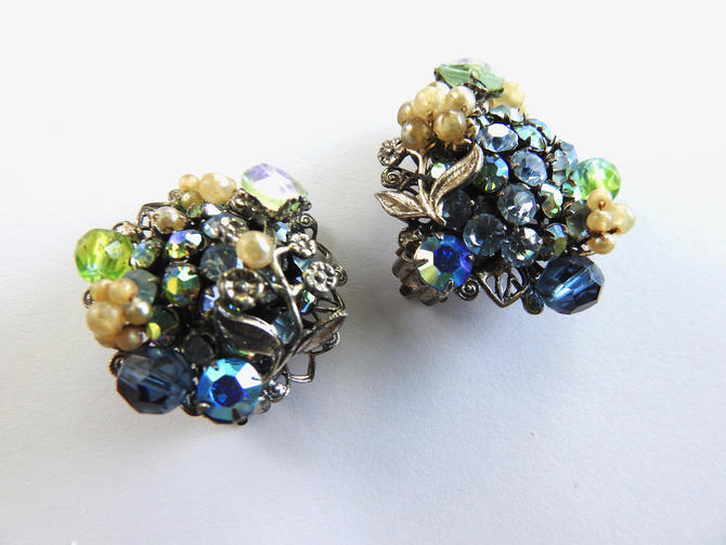 Robert Faux Pearl and Rhinestone Clip on Earrings by LegendaryBeast