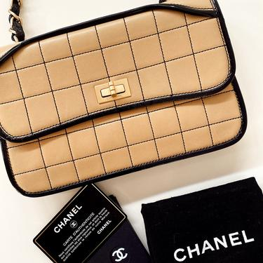 Vintage CHANEL Logo Reissue Beige Quilted Black Patent Leather Gold Chain Classic Flap Shoulder Clutch Purse Evening Bag Handbag by MoonStoneVintageLA