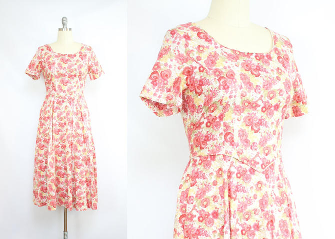 Vintage 90's Laura Ashley Rose Dress / 1990's Rose Print Dress / Pink and Red Floral / Cotton / Women's Size Medium Large by RubyThreadsVintage