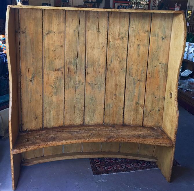 Anitque Primitive Curved Farmhouse Barrel-Back Settle Bench | c. 1800s