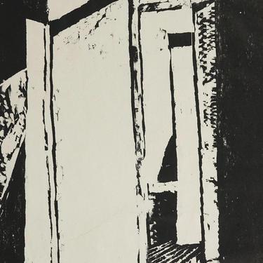 "Sylvia Pollock Woodcut Print ""Doorway 2"" Vintage Art Mid Century Modern MCM MOD Black & White Woodblock AP by VintageInquisitor"