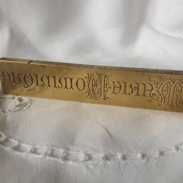 French Solid Brass Print Block, French Name Plate Monogram by JansVintageStuff