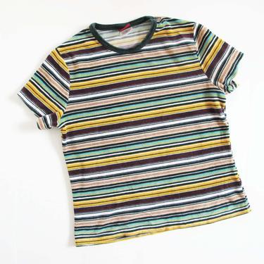 Vintage 90s Striped Shirt S M - Vintage Velvet 90s Shirt - Yellow Burgundy Green Crewneck Velvet Short Sleeve Blouse - 90s Clothing by MILKTEETHS