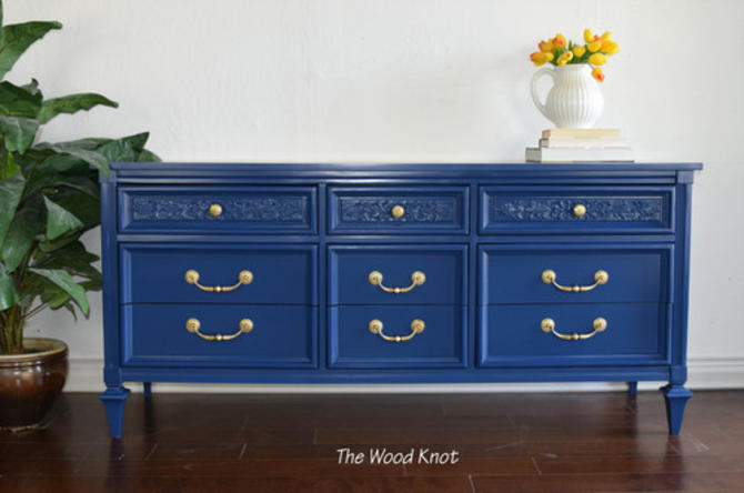 Permacraft Nine Drawer Navy Blue Dresser With Carved Front