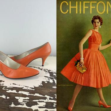 Start Your Day Out Right - Vintage 1960s Fresh Squeezed Orange Leather Heels Pumps Shoes - 8 1/2A by RoadsLessTravelled2