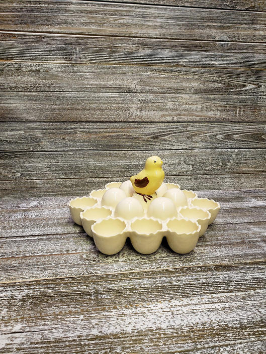 Vintage Yellow Chick Egg Holder, Mid Century Hard Boild Egg Cups, Easter Dyed Egg Display, Ceramic Egg Server, Country Vintage Kitchen by AGoGoVintage