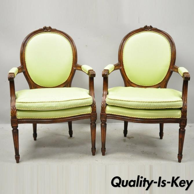 French Louis XVI Country Oval Medallion Back Green Fauteuil Arm Chairs - a Pair