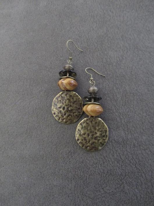 Hammered bronze earrings, Afrocentric hoop earrings, mid century modern earrings, African bold statement earrings, unique ethnic earrings by Afrocasian