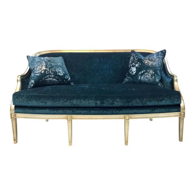 Currey & Co. Velvet Turquoise Audrey Settee