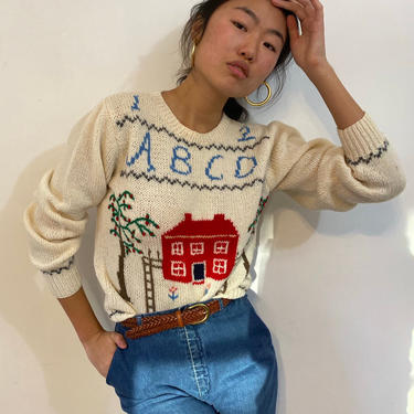 80s hand knit scenic wool sweater / vintage white wool hand knit intarsia red house ABC sampler scenic folk landscape sweater | M by RecapVintageStudio