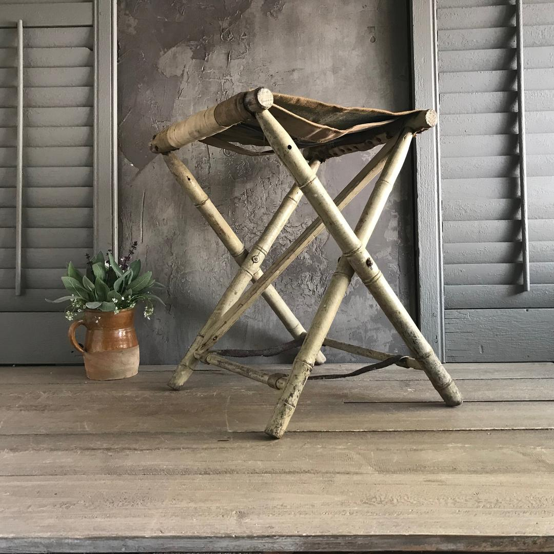 French Striped Canvas Folding Chair Painted Faux Bamboo